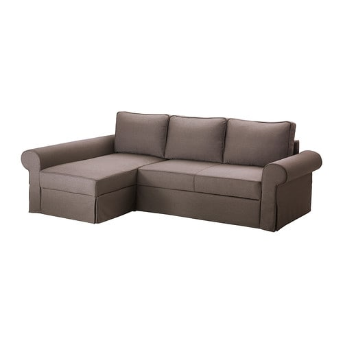 BACKABRO MARIEBY Sofa bed with chaise lounge  Jonsboda brown  IKEA