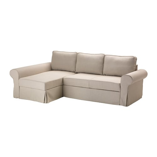 Backabro marieby sofa bed with chaise lounge risane natural ikea