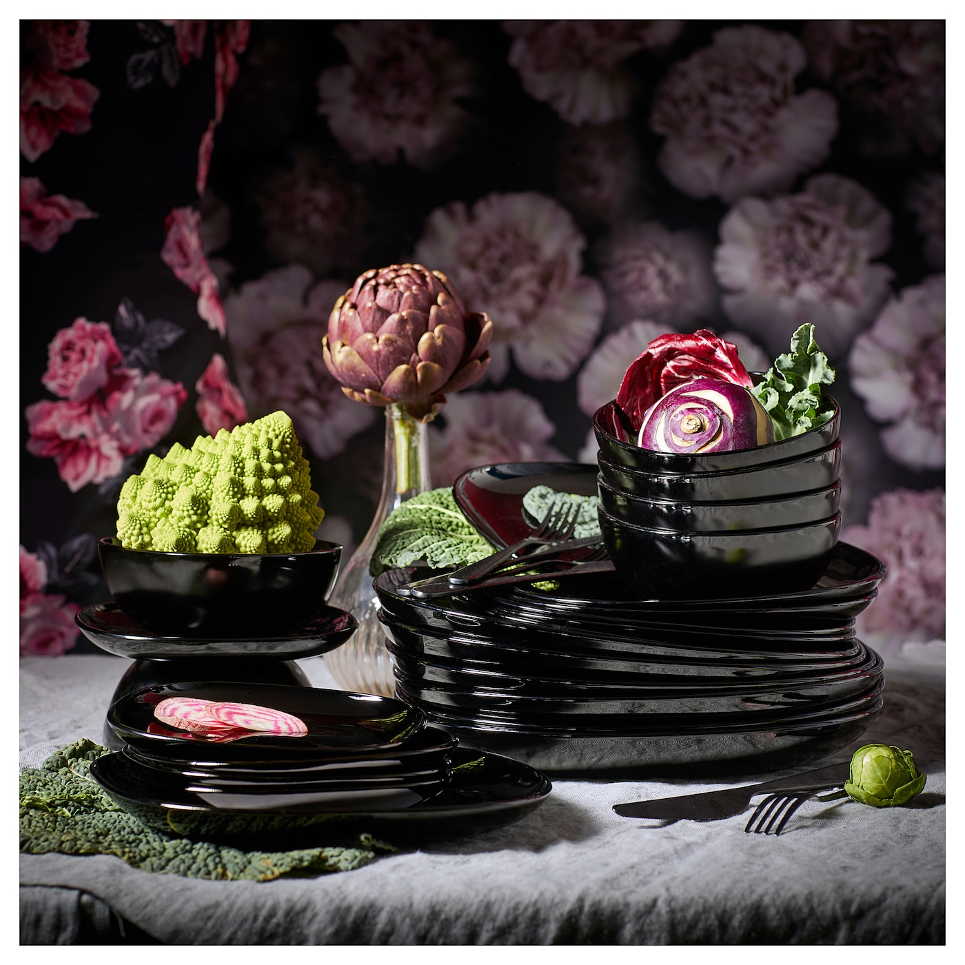 Dinner Set Dinnerware Square Black Plate Bowl Tableware 12 18 Pc Ikea Backig