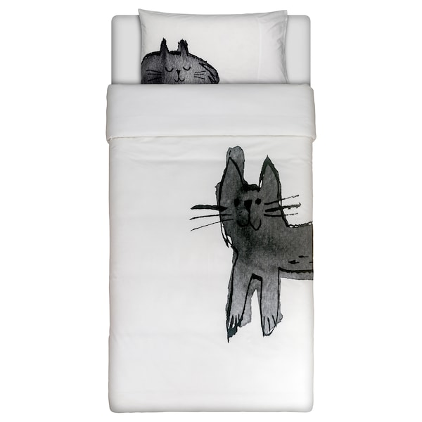 BACKSVALA Duvet cover and pillowcase(s), cat white, Twin