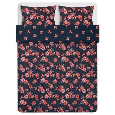 """BACKVICKER duvet cover and pillowcase(s) dark blue/flower 250 /inch² 2 pack 86 """" 86 """" 20 """" 30 """""""