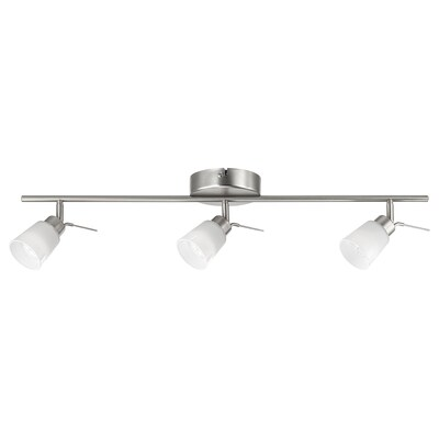 """BASISK ceiling track, 3 spotlights nickel plated/white 35 W 30 """" 3 """""""