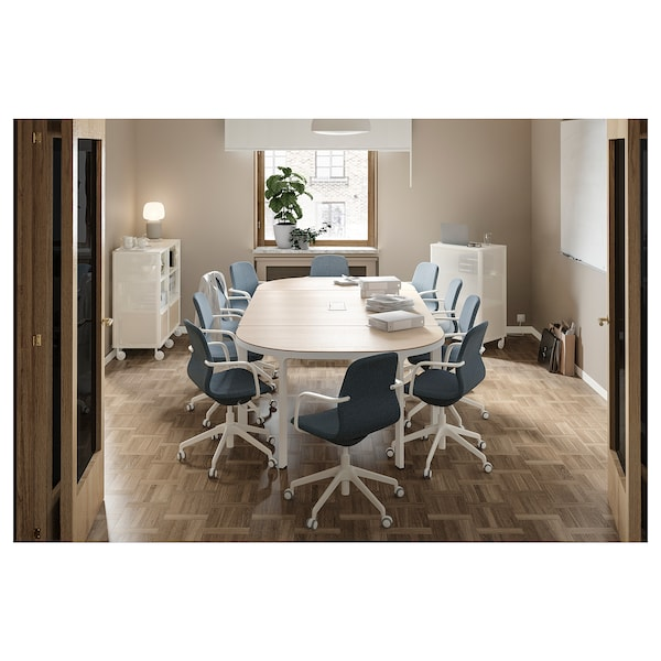 "BEKANT conference table white stained oak veneer white 110 1/4 "" 55 1/8 "" 28 3/4 "" 220 lb 7 oz"