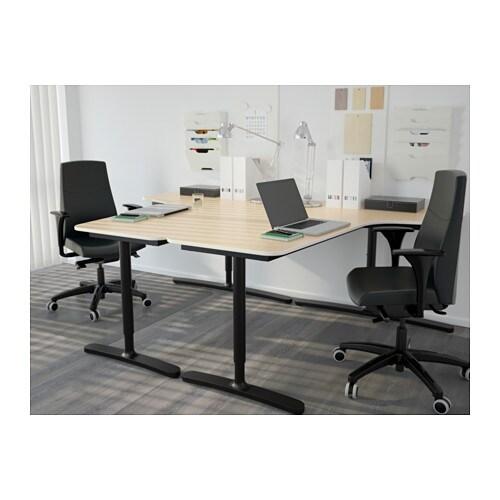 . BEKANT Corner desk left   birch veneer white   IKEA