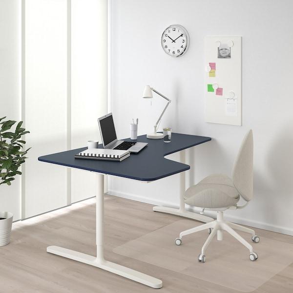 "BEKANT Corner desk-left, linoleum blue/white, 63x43 1/4 """