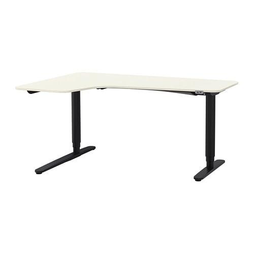 Bekant Corner Desk Left Sit Stand White Black Ikea