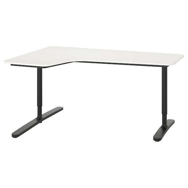 """BEKANT Corner desk-left, white/black, 63x43 1/4 """""""
