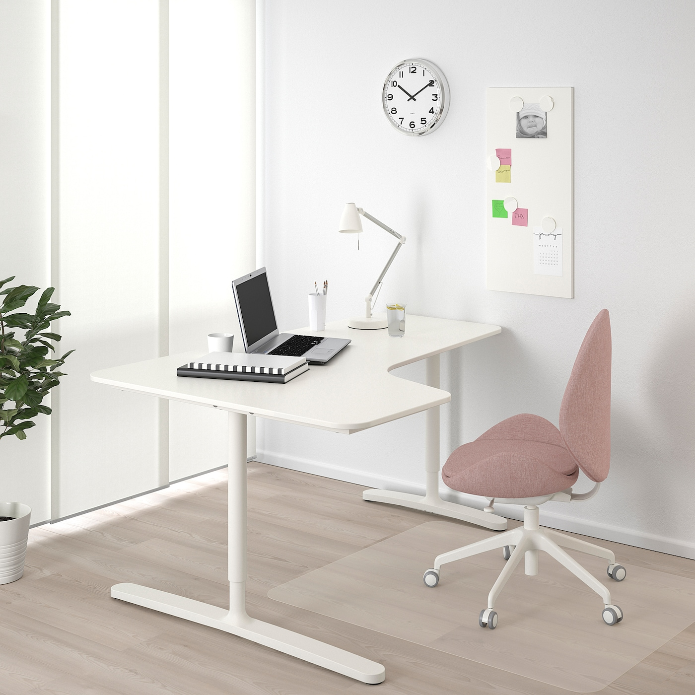 BEKANT Corner desk-left, white, 63x43 1/4 ""