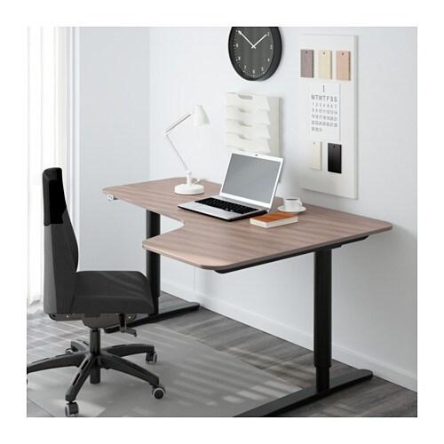 bekant corner desk right sit stand gray black ikea. Black Bedroom Furniture Sets. Home Design Ideas