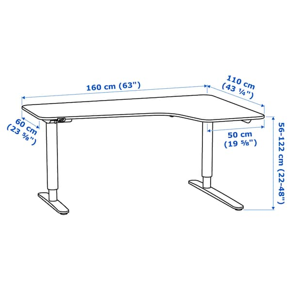 "BEKANT corner desk right sit/stand white 63 "" 43 1/4 "" 22 "" 48 "" 154 lb"
