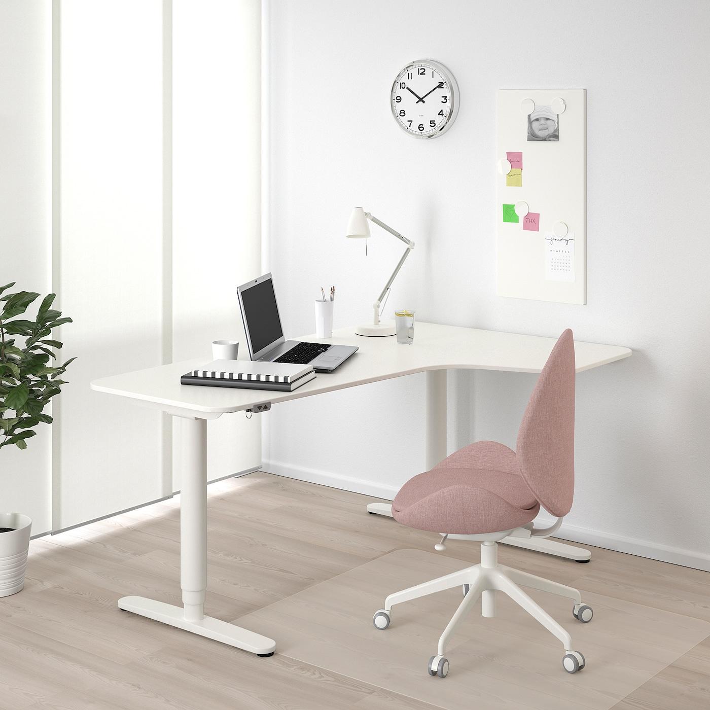 "BEKANT corner desk right sit/stand white 63 "" 43 1/4 "" 22 "" 48 "" 154 lb"