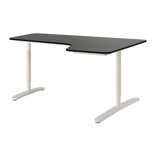 Bekant Corner Desk Right Black Brown White 160x110 Cm