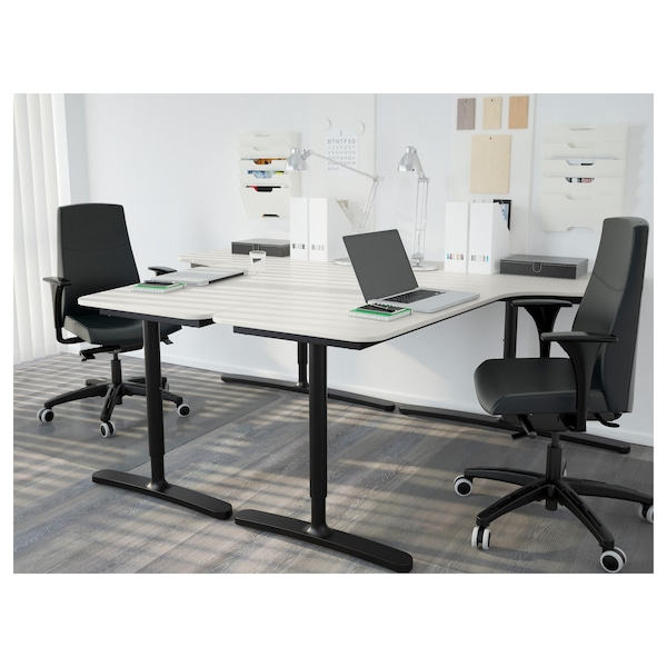"BEKANT Corner table top right, white, 63x43 1/4 """