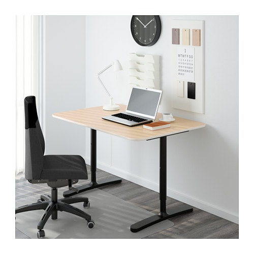 Bekant Desk Birch Veneer Black Ikea