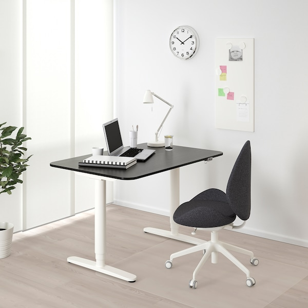 "BEKANT Desk sit/stand, black stained ash veneer/white, 47 1/4x31 1/2 """