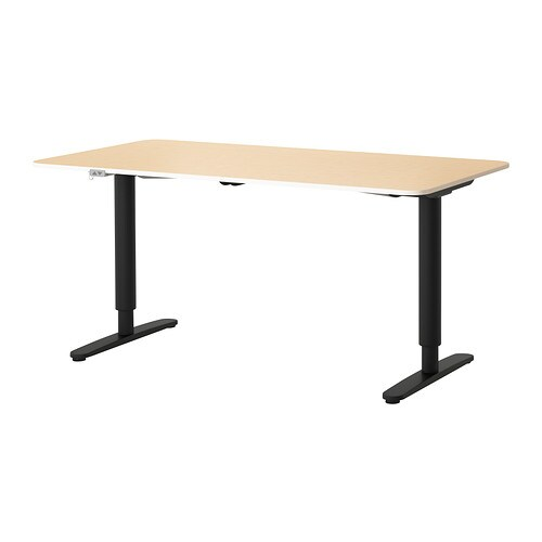 BEKANT Desk sit/stand , birch veneer, black Length: 63