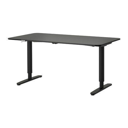 BEKANT Desk sit/stand , black-brown, black Length: 63