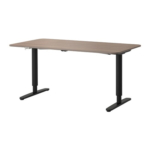 BEKANT Desk sit/stand , gray, black Length: 63