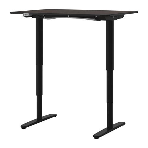 BEKANT Desk sitstand blackbrownblack IKEA