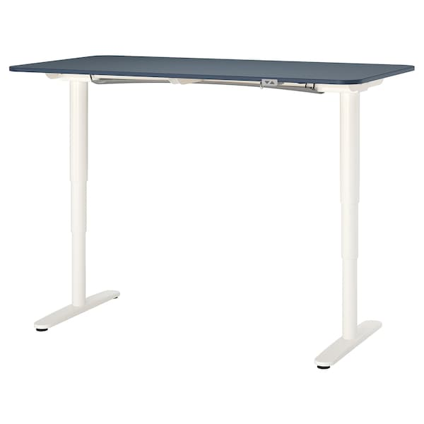 BEKANT Desk sit/stand, linoleum blue/white, 63x31 1/2 ""