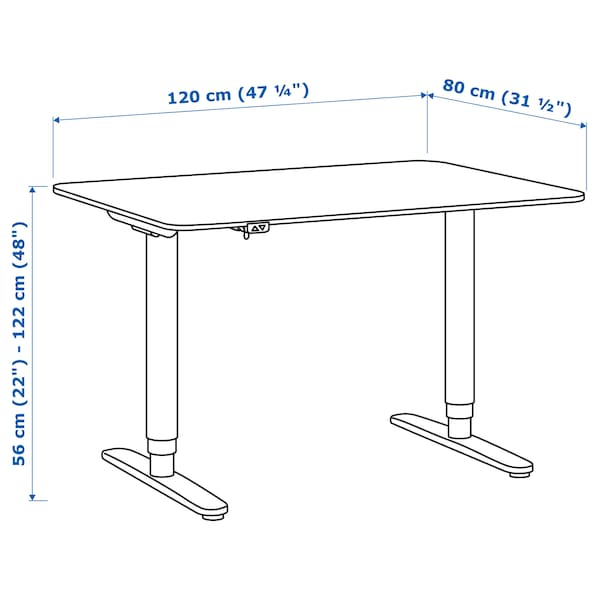 "BEKANT Desk sit/stand, white/black, 47 1/4x31 1/2 """