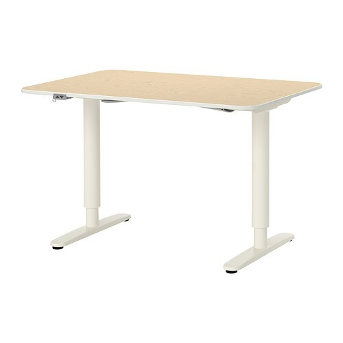 Bekant Desk Sit Stand Birch Veneer White Ikea