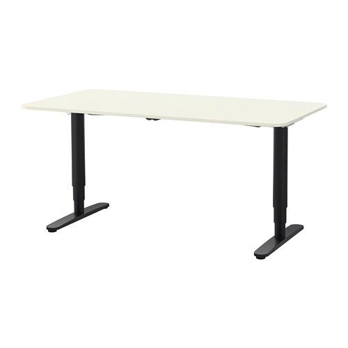bekant desk sit stand white black ikea