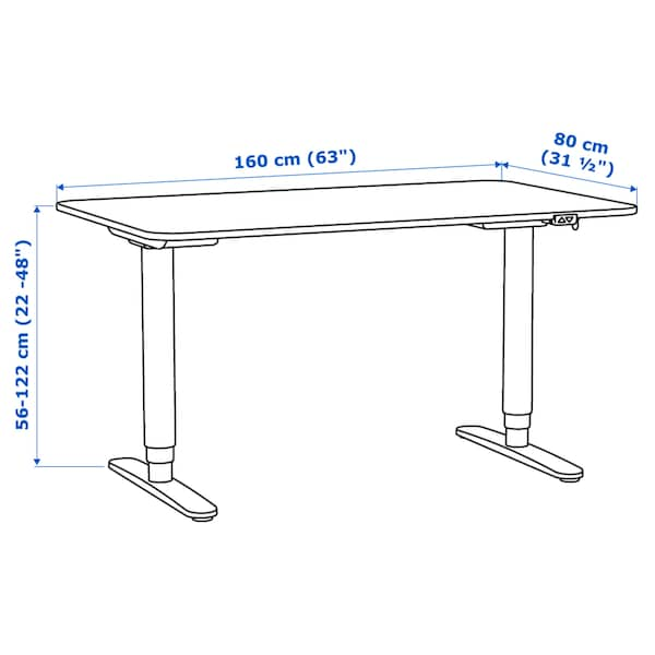 "BEKANT desk sit/stand white/black 63 "" 31 1/2 "" 22 "" 48 "" 154 lb"