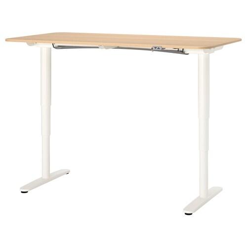 """BEKANT desk sit/stand white stained oak veneer/white 63 """" 31 1/2 """" 22 """" 48 """" 154 lb"""