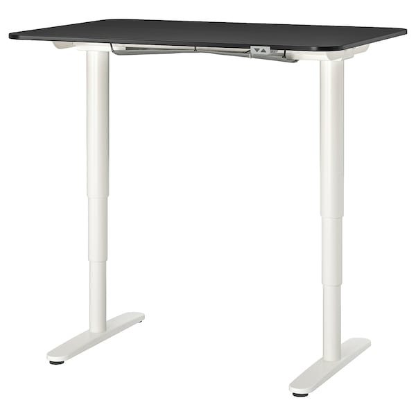 "BEKANT desk sit/stand black stained ash veneer/white 47 1/4 "" 31 1/2 "" 22 "" 48 "" 154 lb"
