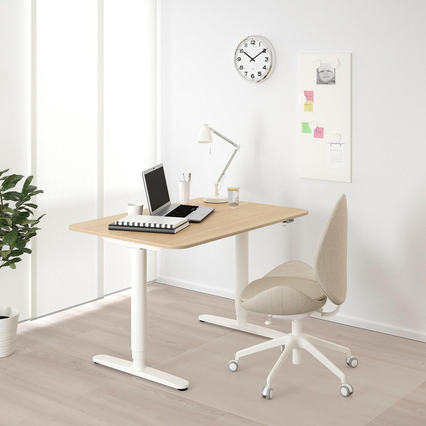 """BEKANT desk sit/stand white stained oak veneer/white 47 1/4 """" 31 1/2 """" 22 """" 48 """" 154 lb"""