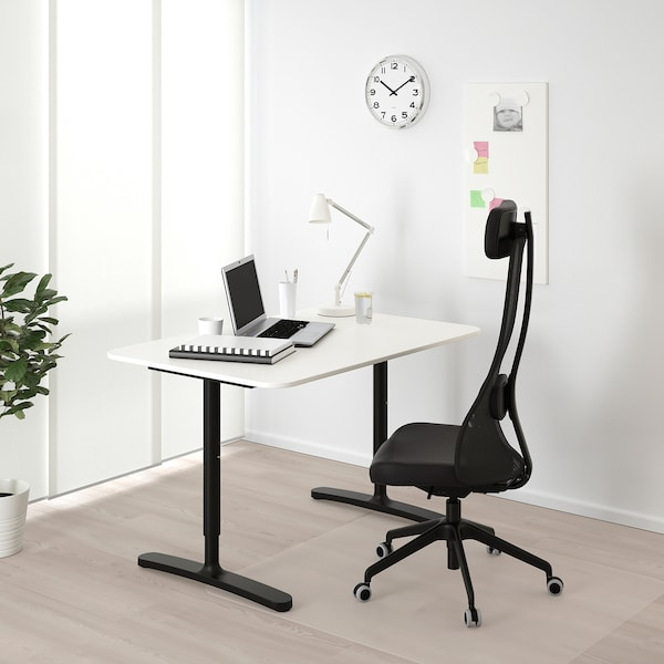 "BEKANT Desk, white/black, 47 1/4x31 1/2 """