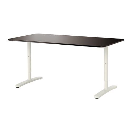 Bekant desk black brown white ikea - Repose pied bureau ikea ...