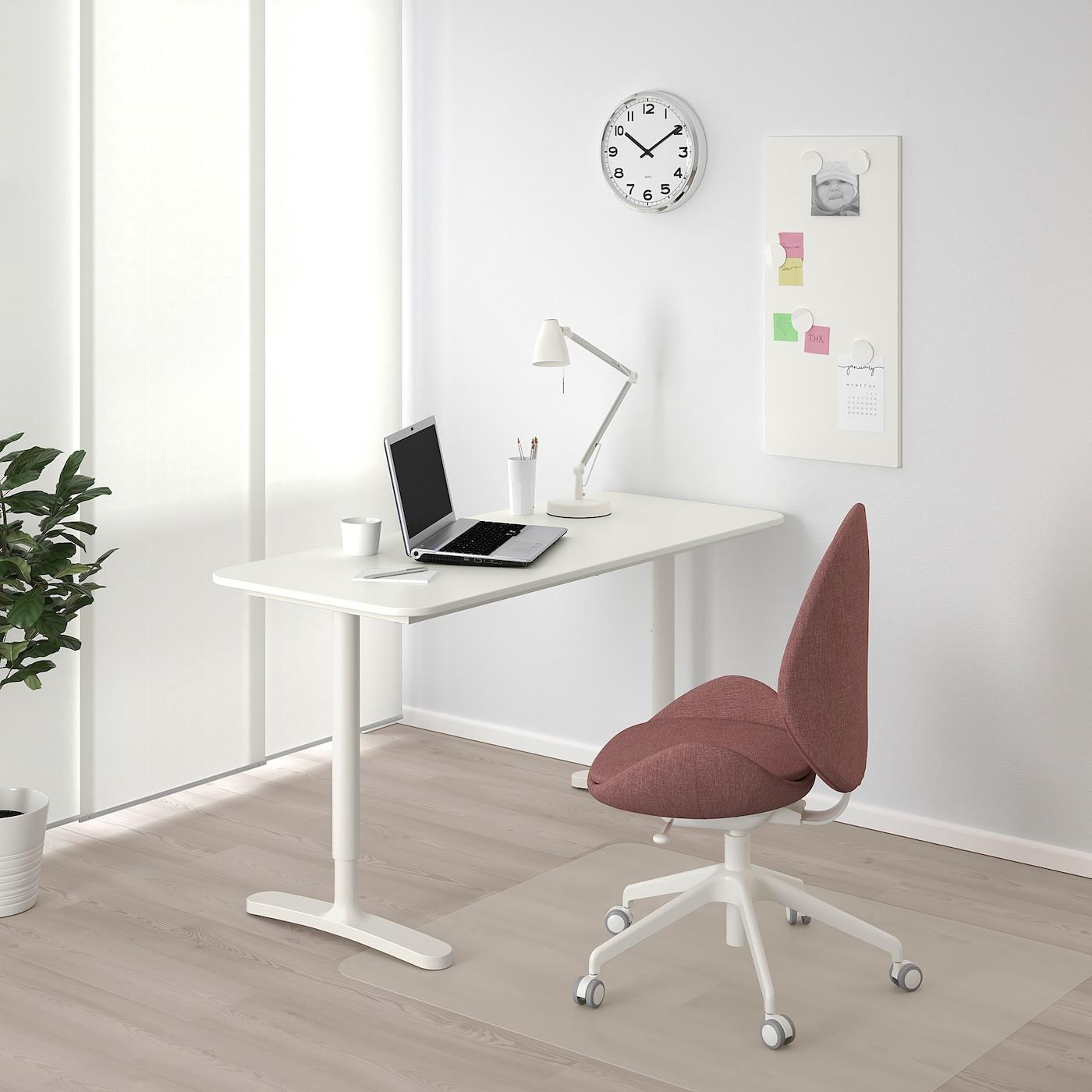 """BEKANT Desk, white, 55 1/8x23 5/8 """""""