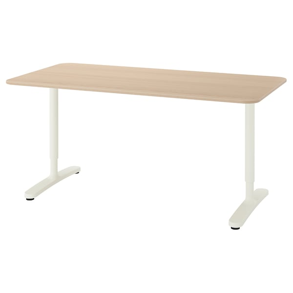 """BEKANT desk white stained oak veneer/white 63 """" 31 1/2 """" 25 5/8 """" 33 1/2 """" 220 lb 7 oz"""