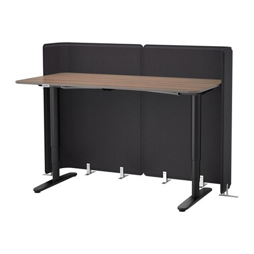 BEKANT Reception desk sitstand grayblack 63x31 12 47 14