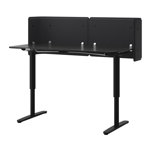 Bekant Reception Desk Sit Stand Black Brown Black 63x31