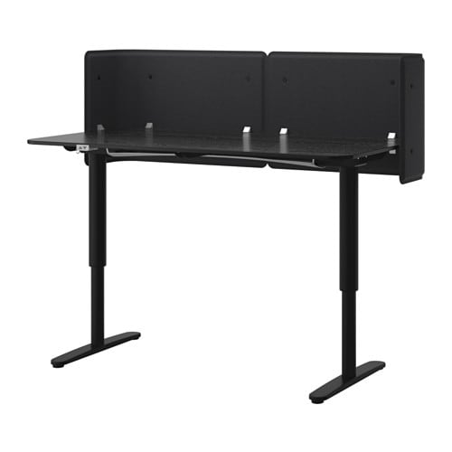 Bekant Reception Desk Sit Stand Black Brown Black 63x31
