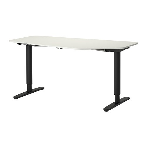 Bekant 5 Sided Desk Sit Stand White Black Ikea