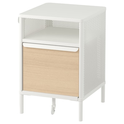 BEKANT Storage unit with smart lock, mesh white, 16 1/8x24 ""