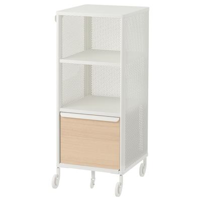 BEKANT Storage unit with smart lock, mesh white, 16 1/8x39 3/4 ""