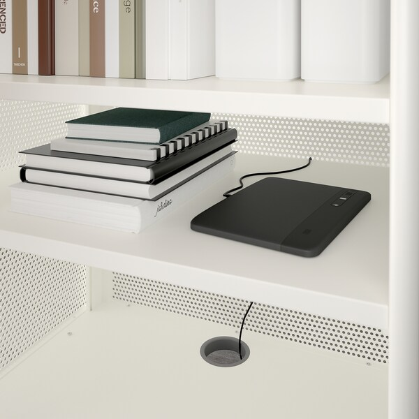 "BEKANT storage unit with smart lock mesh white 24 "" 17 3/4 "" 39 3/4 """