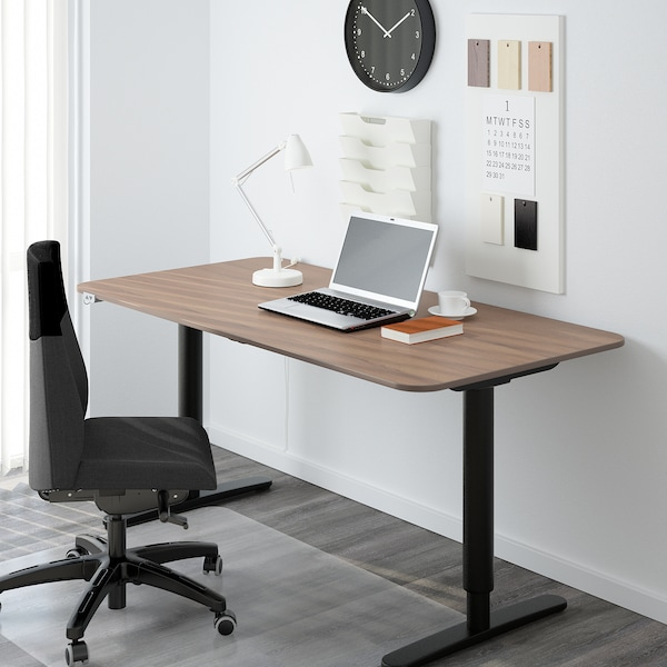 """BEKANT sit/stand underframe for table top black 25 5/8 """" 57 1/2 """" 63 """" 31 1/2 """" 22 """" 48 """" 154 lb"""