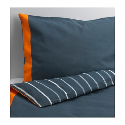 BENRANGEL Duvet cover and pillowcase(s), blue, gray blue/gray Twin