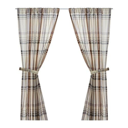BENZY Curtains with tie-backs, 1 pair IKEA Yarn-dyed fabric.   The pattern is visible on both sides.   .