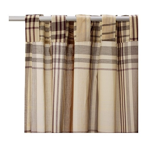 BENZY Curtains with tie-backs, 1 pair IKEA Yarn-dyed fabric. The pattern is visible on both sides.