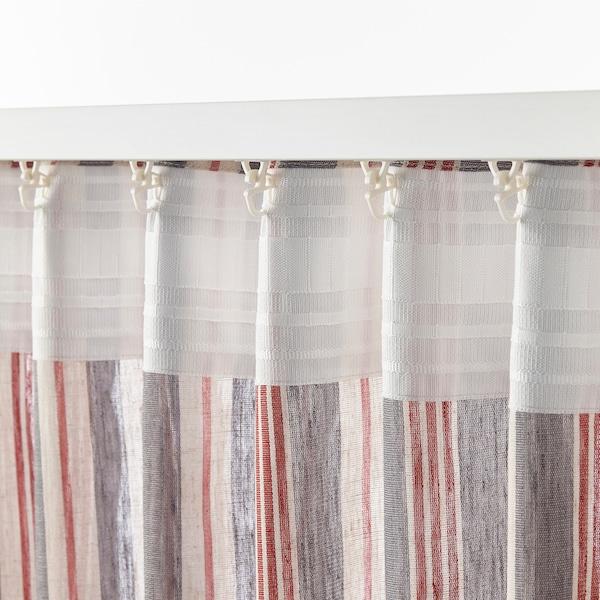 "BERGSKRABBA Curtains, 1 pair, gray/red stripe, 57x98 """