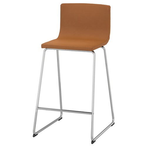 "BERNHARD bar stool with backrest chrome plated/Mjuk golden brown 243 lb 18 7/8 "" 19 5/8 "" 35 3/8 "" 15 3/4 "" 15 "" 26 """