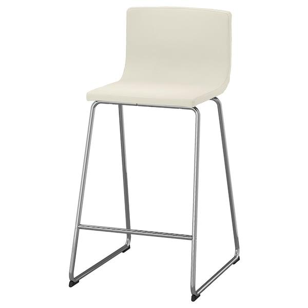 Bernhard Bar Stool With Backrest Chrome Plated Mjuk Kavat White Ikea
