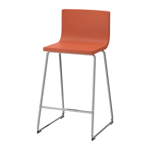 BERNHARD Bar stool with backrest, chrome plated, Mjuk orange